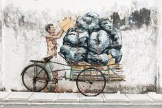 Whimsical New Murals by Ernest Zacharevic Play with Their Surroundings on the Streets of Malaysia | Colossal http://restreet.altervista.org/ernest-zacharevic-street-artist-che-unisce-reale-e-irreale/
