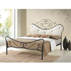 Princess shabby chic iron metal bed is a great way to give gorgeous and elegant yet breathable piece to your bedroom. The Princess features antique bronze finishing metal and beige upholstery on the headboard.
