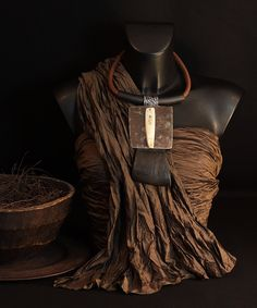 AMALTHEE CREATIONS--Pectoral Necklace:  hammered iron, Buffalo horn, Zebu horn, leather and rubber. Spectacular but comfortable ! And not heavy at all !  (One of a kind )