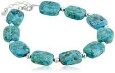 """Sterling Silver Synthetic Compressed Turquoise Rectangle Bead Link Bracelet,"""" + 1.25"""" Extender. The natural properties and composition of mined gemstones define the unique beauty of each piece. The image may show slight differences to the actual stone in color and texture. Clean gemstone jewelry with a soft, dry cloth. Avoid harsh cleaners or chemicals as they can damage the stones. Imported."""