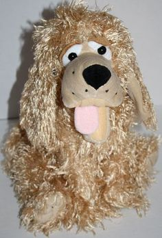 "Tan Dog Cocker Spaniel Sitting Tongue Out Furry Stringy Plush 14"" Stuffed Animal 