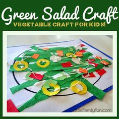Students create their own salad out of a variety of materials. Great to use after talking about healthy foods. #healthyfoodpreschool