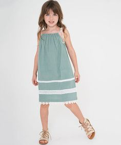 Love this Green & White Lace-Accent Pillowcase Dress - Toddler & Girls on #zulily! #zulilyfinds