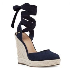 Nine West Prescot Espadrille Wedges ($89) ❤ liked on Polyvore featuring shoes, sandals, navy fabric, espadrille sandals, navy blue sandals, navy wedge espadrilles, wedge heel sandals and platform espadrilles