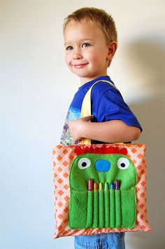 Super adorable tote + crayon/marker holder <3