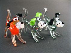Blown Glass Dog Miniature, Sculpture, Figurine, Lampwork