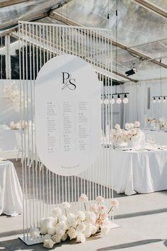 All White Wedding | Paula + Simon — Bertie Does Seating Plan Wedding, Wedding Signage, Wedding Reception Decorations, Wedding Seating Charts, Top Wedding Trends, Wedding Sets, Wedding Designs, All White Wedding, Dream Wedding
