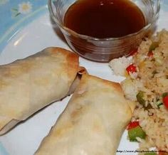 Egg Roll with Sweet Sour Sauce