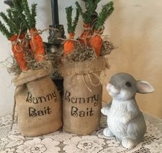 """BUNNY RABBIT FAMILY White Spring Farmhouse Cottage Chic Easter Distressed 10/"""""""
