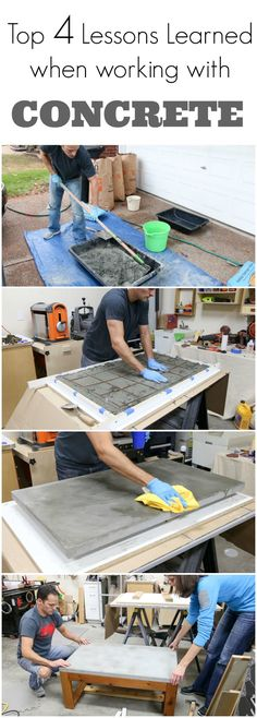 See the top 4 lessons I learned when working with concrete. I made a concrete table top and learned what NOT to do along the way. Watch this video to see the concrete top table I made and the things