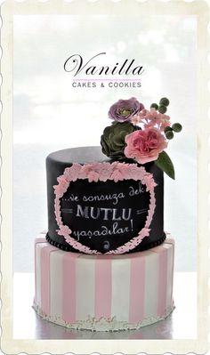 Siyah&Pembe Kara tahta Nişan Pastası. Blackboard Cake. Engagement Cake. Pink&Black Engagement Cake.