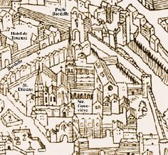 8th century #Merovingian Paris (pre-Carolingian era) showing in the centre, Sainte Genevieve Abbey - founded in 502 by King Clovis I and his queen, Clotilde.