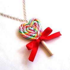 Regenboog Lollipop ketting reus hart Rainbow door FatallyFeminine