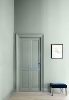 Pale and interesting. We love how the sage green walls and soft, light wooden floor create a harmonious and calm retreat. Decor, House Design, Green Interiors, Colorful Interiors, Home, Painted Doors, Sage Green Walls, Doors Interior, Wall Color