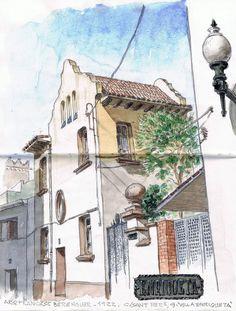 Urban Sketchers Spain. El mundo dibujo a dibujo.: Casas en la calle Sant Pere de Sant Boi de Llobregat