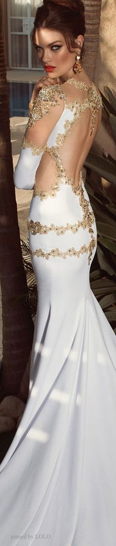 Back Detailed View White Gown With Gold Encrusted Feature & Thigh High Side Split - Fabulous & Glamorous -ShazB... {Imgend - Picture This}