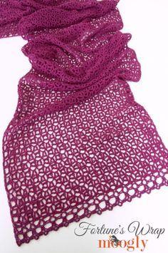 Fortune's Wrap - free crochet pattern on Moogly!                                                                                                                                                                                 More Crochet Ponchos, Crochet Yarn, Free Crochet, Crochet Wraps, Crochet Scarfs, Moogly Crochet, Crochet Shawl Patterns, Prayer Shawl Crochet Pattern, Crochet Wrap Pattern