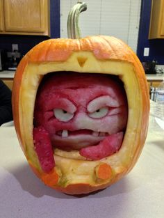 Krang O' Lantern, A Teenage Mutant Ninja Turtles Themed Watermelon Inside a Halloween Pumpkin... Oh my God, if I could only show this to my 8-year-old self!