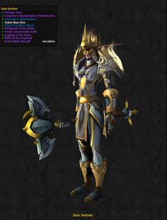 "Hello there, Shadewind posting again. This time with one of my Shadow/Disc Priest Nimrais Shadewind (Aman'thul US Oceanic)'s sets. I've highlighted my current set (Solar Sentinel) so that you can see what I've used to compile it- I just have to upgrade the Inscription Staff and she will be finished.To those who were wondering about my last mogset (for the Shaman Varanis), the pants are easily crafted blacksmithing ""Mithril Scale Pants"".I would also change her bo..."