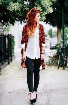 Le Happy | casual wear | kimono, shirt, jeans, heels