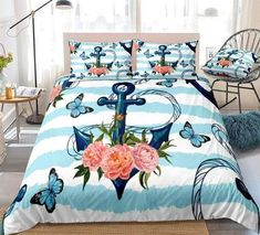 Butterflies Palm Leaves Blue Anchor Bedding Set Anchor Bedding, Pillow Shams, Pillow Cases, Butterfly Bedding Set, Bed In A Bag, Cotton Duvet, Clean Design, Beautiful Patterns, Duvet Cover Sets
