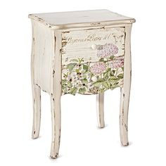 Organise bedroom essentials and display a statement lamp on this wooden chest of drawers, featuring a distressed white finish and floral design. Cute Furniture, Decoupage Furniture, Decoupage Art, Decoupage Vintage, Furniture Making, Furniture Makeover, Painted Furniture, Wooden Staff, Shabby Chic Farmhouse