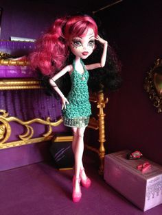 Monster High Doll Clothes, Emeraud Crochet Dress, Sequins for a Night at the Disco