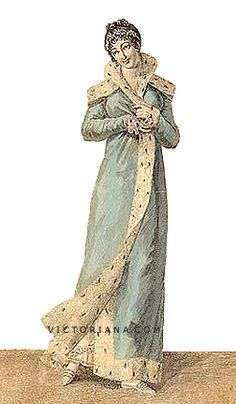 1812, Ermine-trimmed blue pelisse. Similar to the modern coat, the pelisse was generally full length, followed the Empire silhouette, and was usually made out of silk or cotton. Winter pelisses had warm linings.