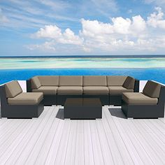 Luxxella Patio Outdoor Wicker Furniture Sunbrella Genuine Collection Bella 7-piece Couch Sectional Sofa Set (Canvas Taupe 5461) Luxxella http://www.amazon.com/dp/B012TB7TOC/ref=cm_sw_r_pi_dp_h0uOwb048YQB9