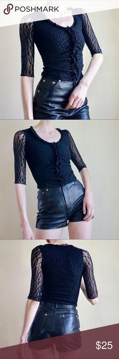 6dd8c5429efeb2 Black 90s sheer sleeve top Sheer lace black half sleeve 90s top with ruffle  detail down