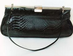 1960's black purse/ Vintage purse/ Crocodile like/Black handbag/Day or night purse/vintage purse by GenesisVintageShop on Etsy