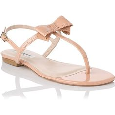 L.K. Bennett Bondi Patent Leather Brogued Bow Detail Flat Sandal ($170) ❤ liked on Polyvore