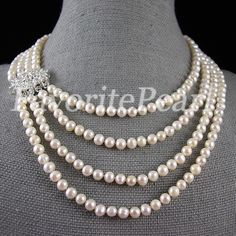 Pearl Necklace - 16-22 Inches Natural Freshwater Pearl Necklace - Free Shipping. $29.00, via Etsy.