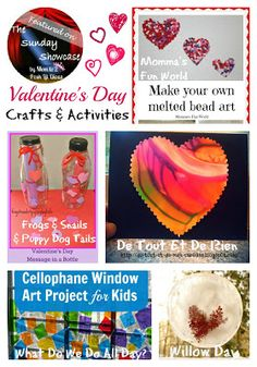 Valentine's Day Crafts & Activities for Kids plus links to lots of other kid friendly ideas