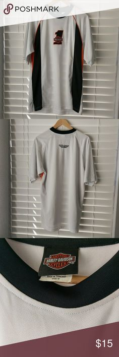 Harley Davidson performance moisture wick tee Size medium racing motorcycle T-shirt or whatever Harley riders do. 100% polyester so it wicks away moisture. EUC. No rips, stains or holes. Harley-Davidson Shirts Tees - Short Sleeve