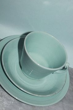 Woods Ware Teacup Saucer & Cake Plate in Iris Blue. Pantone Blue, Wes Anderson, Cake Plates, Tea Cup Saucer, Teacup, Iris, Woods, Blues, Palette