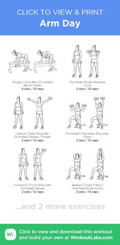 Arm Day –click to view and print this illustrated exercise plan created with #WorkoutLabsFit Arm Workouts Women, Arm Workout Women No Equipment, Arm Workouts Gym, Girl Arm Workout, Skinny Arms Workout, Upper Body Workouts, Workout Days, Arm Workout Women With Weights, Morning Workouts