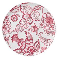 Red Jacobean print Plate