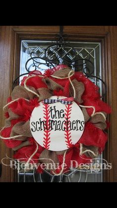 Personalized Baseball Mesh Wreath by lesleepesak on Etsy Front Door Decor, Wreaths For Front Door, Mesh Wreaths, Crafts To Make, Crafts For Kids, Diy Crafts, Sports Wreaths, Sport Craft, Craft Gifts