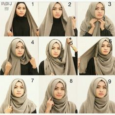 Easy simple hijab style that will go well for any occasion. Full coverage from back and front. Turban Hijab, Hijab Niqab, Hijab Dress, Hijab Outfit, Square Hijab Tutorial, Simple Hijab Tutorial, Hijab Style Tutorial, Stylish Hijab, Hijab Chic