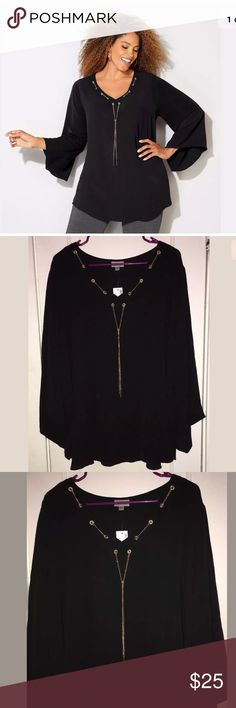 """Avenue Tunic Plus 22/24 3X LACED YOKE CHAIN BLOUSE Avenue Tunic Plus Size 22/24  3X  Blouse Womens Black LACED YOKE CHAIN BLOUSE Woven, plus size blouse.  • V-neckline with chain link string pulled through grommets at the yoke with tie closure.  • Three-quarter length bell-style sleeves.  • Rounded hem.  • Polyester. Hand wash. Imported.  • Approx. 29 1/2 inches long at the back.   97% POLYESTER 3% SPANDEX Retail Price : $ 55  Pit to Pit: 28"""" approx Pit to Hem: 30"""" approx  Smoke and pets…"""