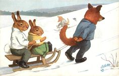 fox pulls two rabbits on sled right, uphill