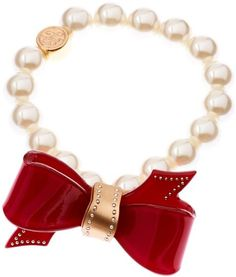 Ted Baker Red Ted Baker Acrylic Bow Pearl Bracelet