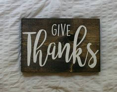 Give Thanks {Fall Decor Wooden Sign} by VelleDesigns on Etsy