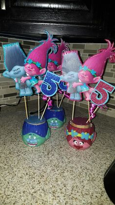 Trolls center pieces diy  Not finished