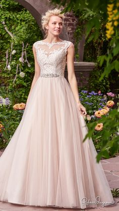 rebecca ingram 2017 bridal cap sleeves illusion bateau neckline heavily embellished bodice ivory color romantic illusion back chapel train (carrie) mv -- Rebecca Ingram 2017 Bridal Collection #pinkweddingdress #weddingdress #romantic