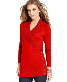 Style&co. Sweater, Long-Sleeve Shawl-Collar Lace-Up - Sweaters - Women - Macy's
