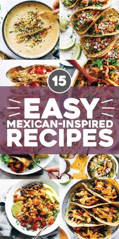 Our Favorite Easy Mexican-Inspired Recipes! Soups, enchiladas, tacos, bowls, and casseroles that pair perfectly with a cold margaritas and a bowl of chips and guac. #mexican #easyrecipe #tacotuesday Quick Easy Meals, Easy Dinner Recipes, Easy Recipes, Copycat Recipes, Snack Recipes, Chicken Tinga Tacos Recipe, Spicy Roasted Cauliflower, Mexican Sweet Potatoes, Vegan Burrito Bowls