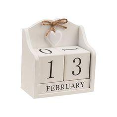 2020 Desk Calendar -Obling Perpetual Calendar Desk Wooden Block Calendar Office and Home Desktop Decoration(Creamy White) Block Calendar, Perpetual Calendar, Desk Calendars, Wooden Blocks, Creamy White, Desk Accessories, Shabby Chic, White Office, Amazon