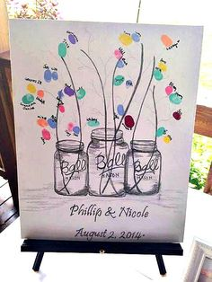 Mason Jar wedding guest book, hand drawn, Unique, name and  date's added, fire-flies & flowers can be pre-stamped  can add blue to jars, by AlwaysAboveAndBeyond on Etsy